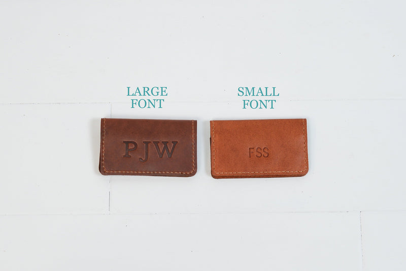 Personalized Leather Business Card Case | Monogram Minimalist Slim Festival Wallet |Simple Groomsmen Gift for Man Boyfriend Husband Dad Grad
