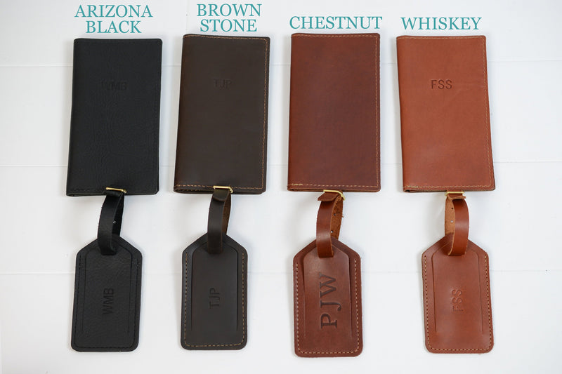 Personalized Leather Travel Wallet + Luggage Tag Gift Set |Custom Leather Monogram Passport Holder Passport Cover Groomsmen Gift for Wedding