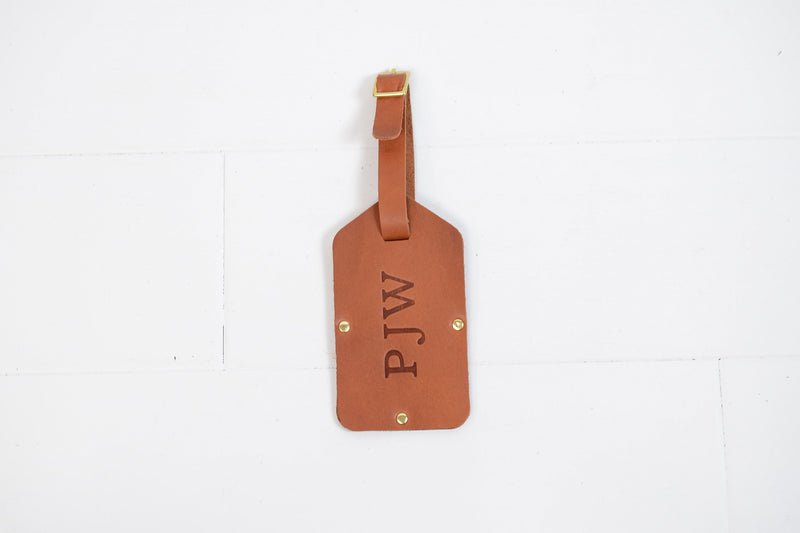 Personalized Leather Luggage Tag | Custom Monogram Suitcase Travel Tag Groomsmen Gift for Men Boyfriend Husband Grad | Wedding Gift | Travel