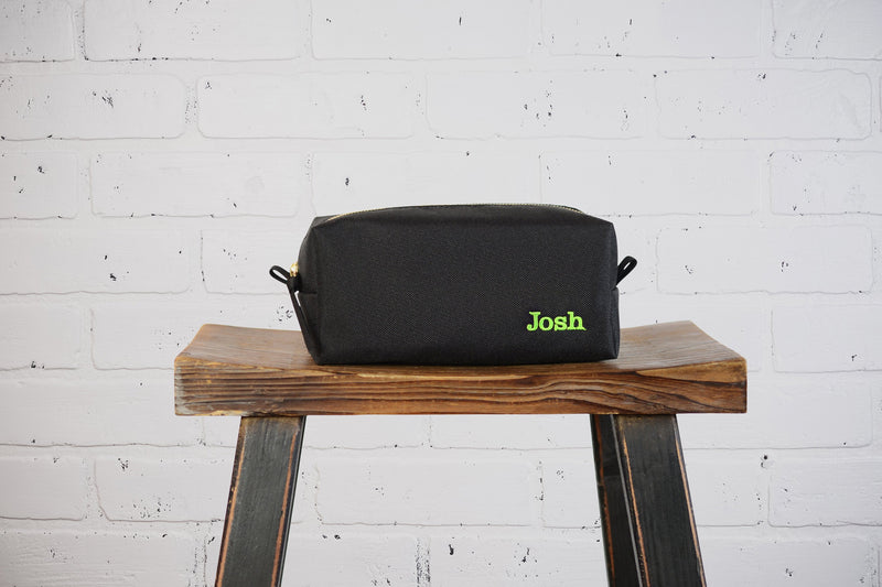 Personalized Black Canvas Dopp Kit Groomsmen Gift | Monogram Canvas Mens Toiletry Bag Travel Case | Vegan Gift for Husband Boyfriend Dad Kid