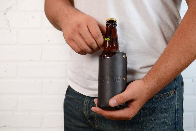 Personalized Leather Beer Holster Leather Beer Holder Groomsmen Gift for Men Him |Beer Gift for Husband Dad Boyfriend Monogram Initials Belt