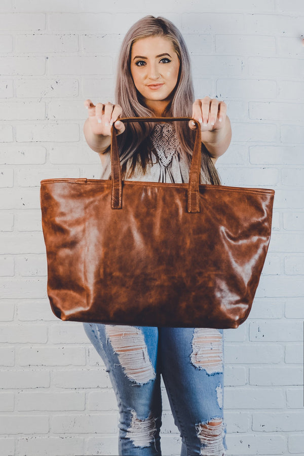 Personalized Fine Leather Tote Bag with Zipper | Bridesmaids Gift for Her,Wife, Mom| RUGGED Brown Leather Diaper Bag Purse- The Madison Tote