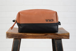 Personalized Leather Dopp Kit Custom Groomsmen Gift | Monogram Leather Mens Toiletry Bag Travel Case | Wedding Gift for Groomsmen Husband