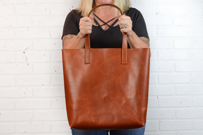 Minimalist Large Leather Tote Bag |Handmade Full Grain Cowhide Simple Leather Shoulder Bag | WHISKEY Leather Diaper Bag-Felix Street
