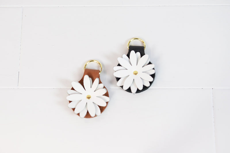 Bohemian White Floral Add On or Keychain | Custom Leather Key Fob| Bridesmaid Gift Under 30 Gift for Her Bride Women Wife|Whiskey or Black