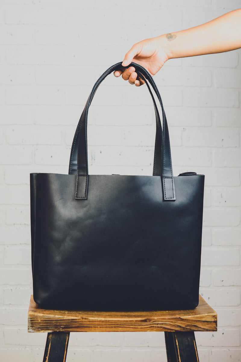 Minimalist Medium Leather Tote Bag |Handmade Full Grain Cowhide Simple Leather Purse | Computer Bag | Black Leather Diaper Bag-Felix Street