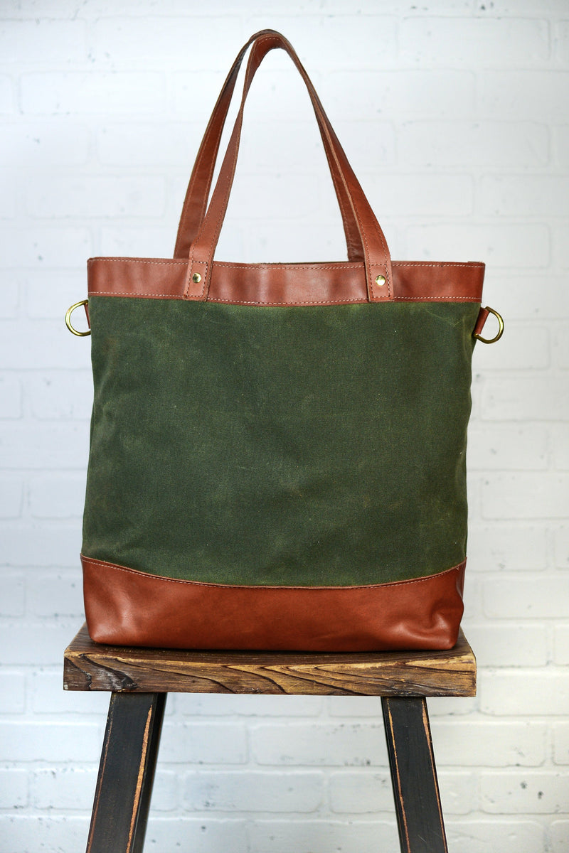 Waxed Canvas and Leather Large Tote Bag |Handmade Full Grain Cowhide Leather Shoulder Bag | Canvas and Leather Diaper Bag-Felix Street
