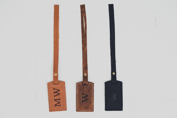 Personalized Full Grain Leather Purse Tag | Custom Monogram Handbag or Travel Tag Bridesmaid Gift for Her Girlfriend Wife Grad |Wedding