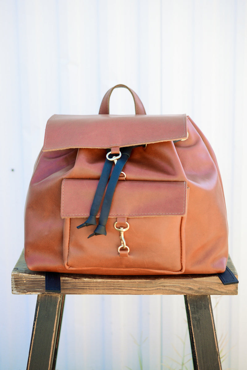 Leather Back Pack Purse |Handmade Leather Handbag | Full Grain Leather Computer or Diaper Bag-Chandler Back Pack by Felix Street Leather
