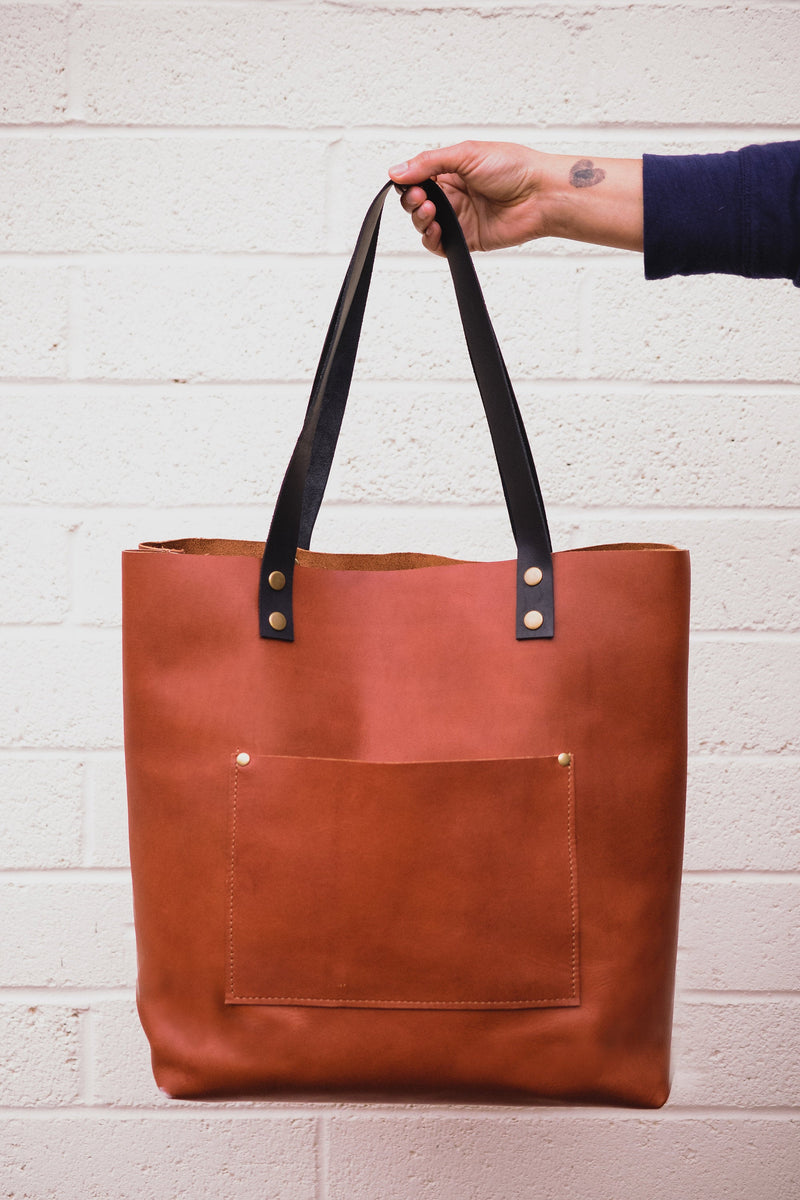 Minimalist Large Leather Tote Bag |Handmade Full Grain Leather Shoulder Bag | Leather Market Bag or Leather Diaper Bag-Felix Street