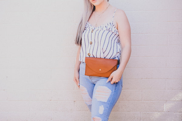 Adjustable Leather Waist Pack  | Convertible  Envelope Clutch or Fanny Pack | Festival or Market Purse  | Vintage Inspired Gift for Her