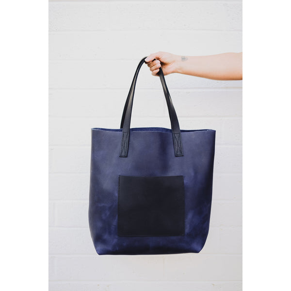 Minimalist Navy Blue Large Leather Tote |Handmade Full Grain Leather Shoulder Bag | Leather Market Bag or Leather Diaper Bag-Felix Street