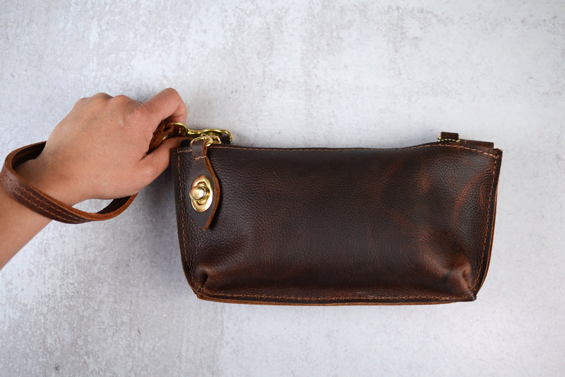 Small Leather Personalized Clutch or Crossbody | Handmade Full Grain Convertible Leather Purse for Her - Felix Street Leather