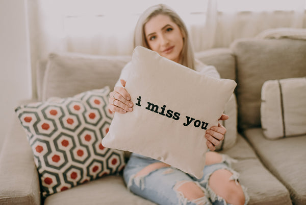 Personalized I Miss You Throw Pillow | Custom Quarantine Gift for Mom, Parents, Grad, Kids, Wife | Home Décor Accent Pillow Living & Bedroom