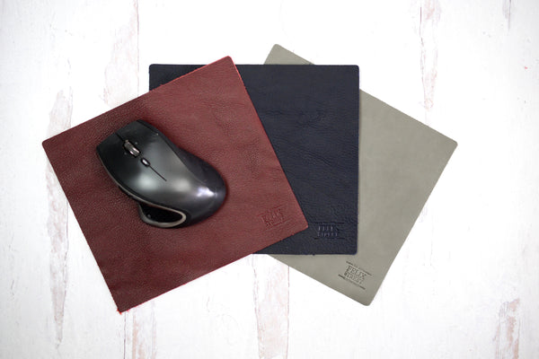 Custom Leather Mouse Pad  | Monogram Leather Office Decor  | Personalized Mouse Pad | Leather Corporate Gift | Gift for Grad, Student, Boss