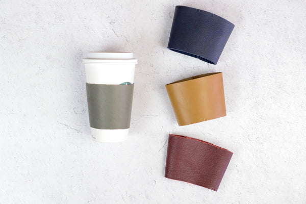 Leather Cup Warmer | Custom Leather Coffee Sleeve | Great Gift for Man Woman Teen Grad Bridesmaid