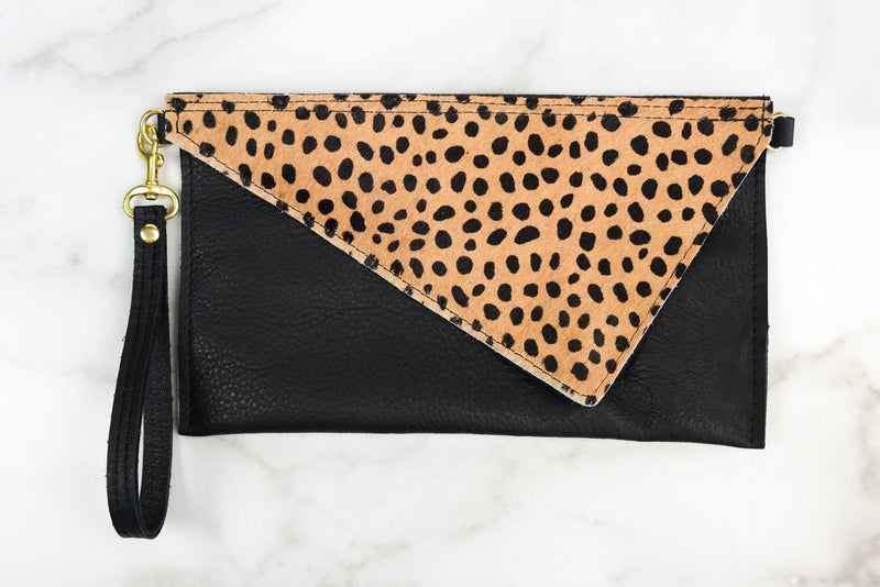 Asymmetrical Cheetah Print Leather Wristlet- Zola Bag