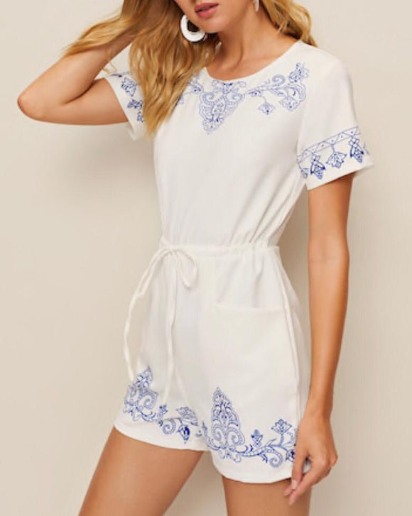 Tribal Drawstring Playsuit