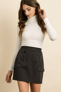 Pinstripe Button Front Skirt