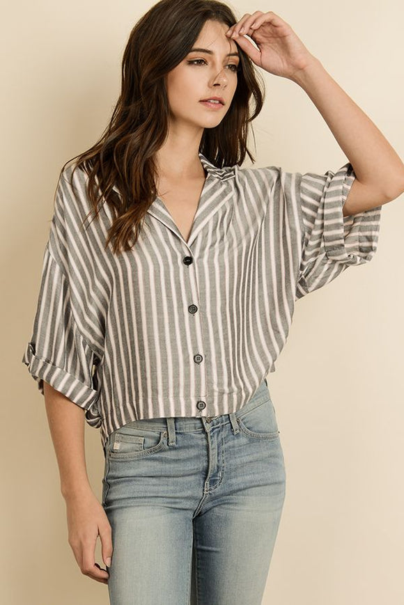 Stripe Boxy Button-Down Shirt