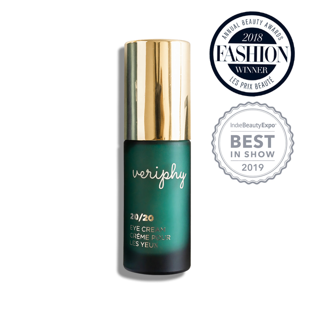Veriphy Skincare 20/20 Eye Cream 15 mL green glass bottle with gold pump cap. 2018 Fashion Winner icon and 2019 IndieBeautyExpo Best In Show icon