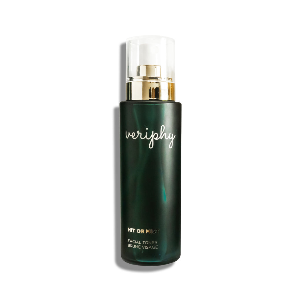 Veriphy Skincare Hit or Mist Facial Toner 100 mL green glass bottle with gold spray cap