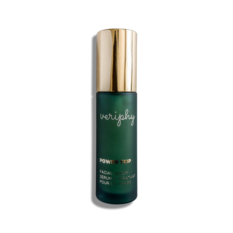 Veriphy Skincare Power Trip Facial Serum 30 mL green glass bottle with gold pump cap