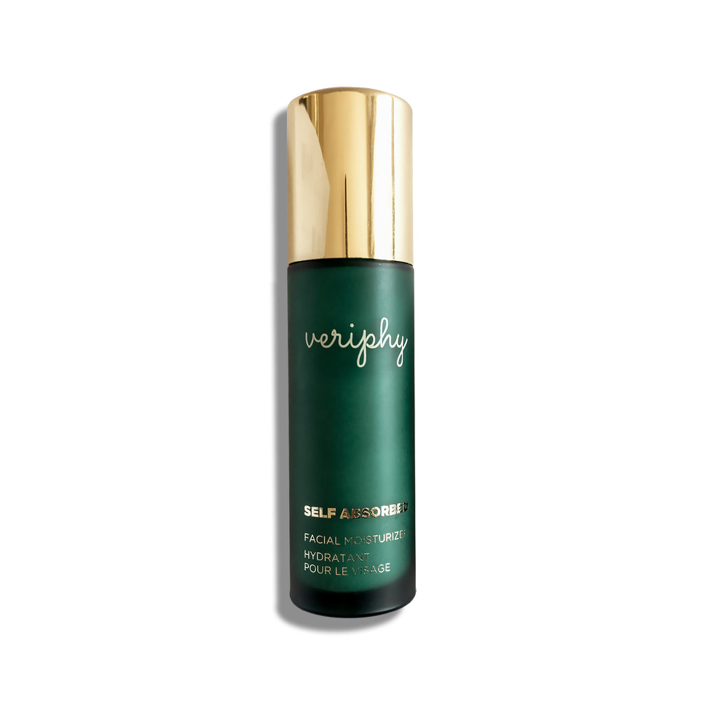 Veriphy Skincare Self Absorbed Facial Moisturizer 50 mL green glass bottle with gold pump cap