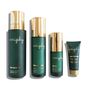 Veriphy Skincare Hit or Mist Facial Toner 100 mL, Self Absorbed Facial Moisturizer 50 mL, 20/20 Eye Cream 15 mL in green glass bottles with gold caps, and Power Trip Facial Serum 10 mL deluxe travel size green tube with gold cap