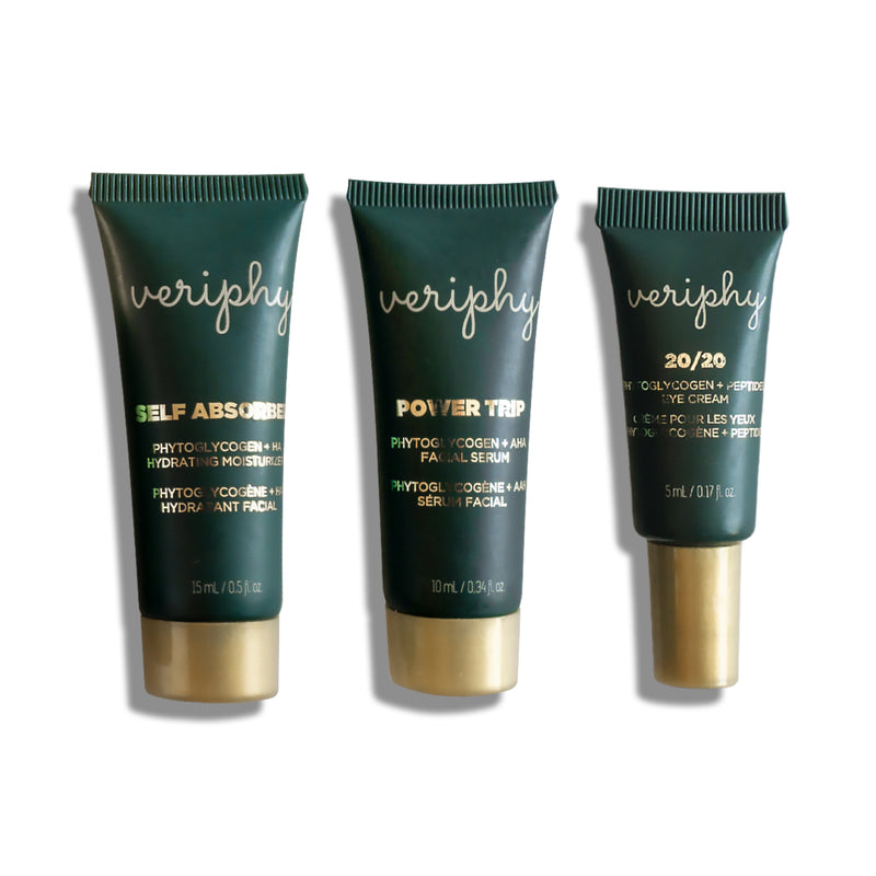Veriphy Skincare Self Absorbed Facial Moisturizer 15 mL, Power Trip Facial Serum 10 mL, and 20/20 Eye Cream 5 mL deluxe travel sizes in green tubes with gold screw caps