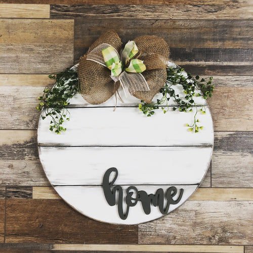 Wood Round with 3d HOME lettering