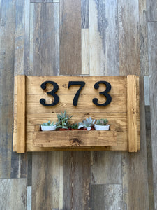 Address Sign/Succulent Planter *WITH SUCCULENTS* (2.5hrs) $67