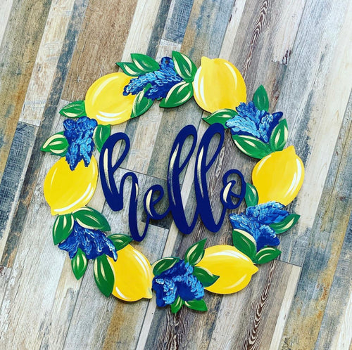 (SOLD OUT) Doorhanger - Hello Lemon Wreath (2.5hrs) $47.50