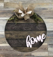 Load image into Gallery viewer, Wood Round - 3d HOME lettering