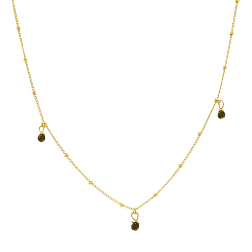 GOLD GALAXY THREE ONYX NECKLACE