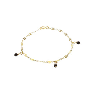 GOLD MIDNIGHT THREE ONYX ANKLET