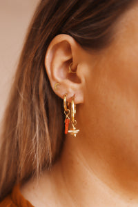 GOLD EARRING CHARM RED CORAL