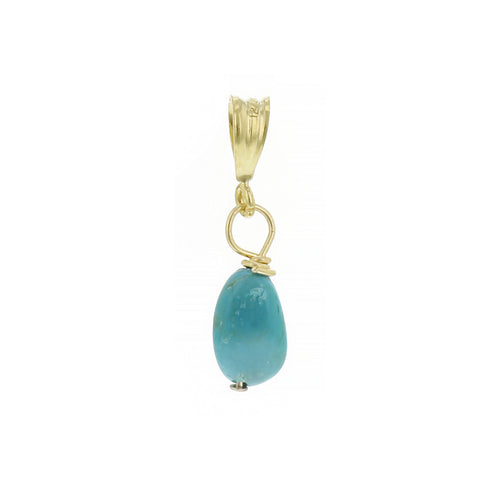 GOLD NECKLACE CHARM DECEMBER TURQUOISE