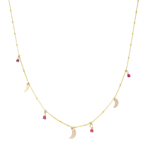 GOLD GALAXY MOON RUBY NECKLACE