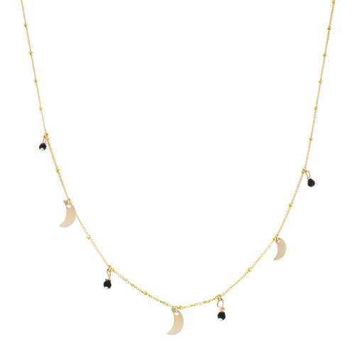 GOLD GALAXY MOON ONYX NECKLACE