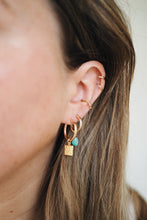 Load image into Gallery viewer, GOLD EARRING CHARM DECEMBER TURQUOISE
