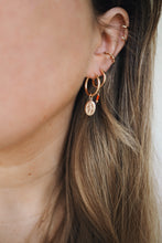 Load image into Gallery viewer, GOLD EARRING CHARM RED TURQUOISE