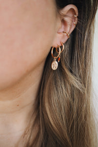 GOLD EARRING CHARM RED TURQUOISE