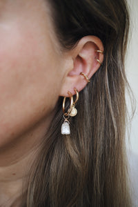 GOLD EARRING CHARM JUNE PEARL