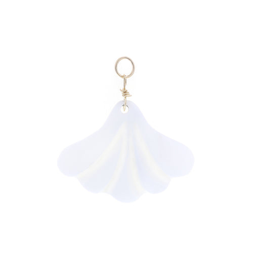 GOLD EARRING CHARM PEARL FAN
