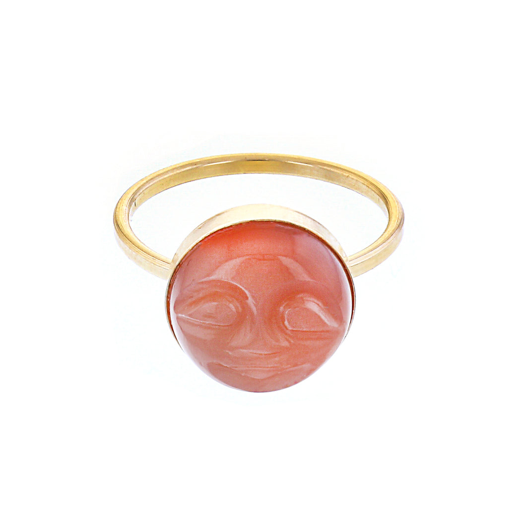 GOLD PEACHY MOON RING
