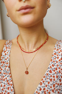 GOLD ENERGIZING CORAL NECKLACE