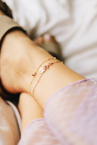 GOLD GALAXY RUBY ANKLET