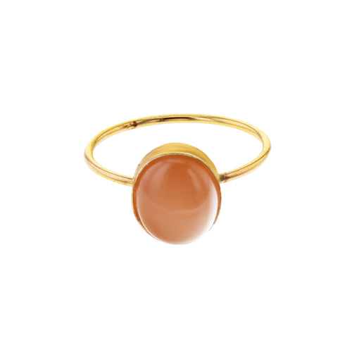 GOLD OVAL PEACHY MOON RING