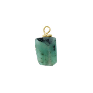 GOLD EARRING CHARM MAY EMERALD